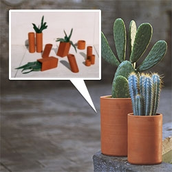 Matagalán Cilindro and Gravedad terracotta planter pots are lovely!