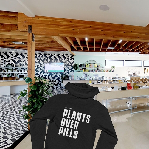 "The Pottery - beautifully designed cannabis dispensary in Los Angeles (Mid-City). Also lots of fun merch featuring sayings like ""Plants over pills"" - ""Not your typical flower shop"" - ""Earth grown goods."""