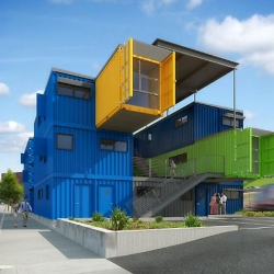 "Designed by Distill Studio, ""Box Office"" is a stunning piece of shipping container architecture that broke ground in Providence, Rhode Island this week."