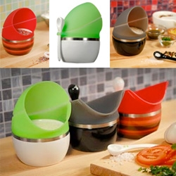 Prepara pop savers ~ cute idea with a silicon lid that can be easily popped open or closed ~ nicer than leaving things totally exposed on the counter!
