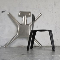 Harry Thaler's super-light Pressed Chair starts as a 2.5mm flat sheet of aluminum that gets pressed into shape.