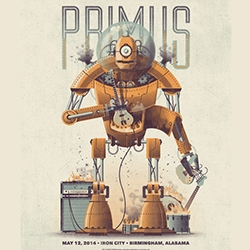 "DKNG's  Primus Robot Poster - ""Our poster for the band's May 12, Birmingham, Alabama show features a robot fueled by music in the process of consuming the band's instruments including Les Claypool's signature bass guitar."""
