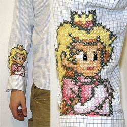 This guy had his mom cross stitch princess peach on his sleeve....
