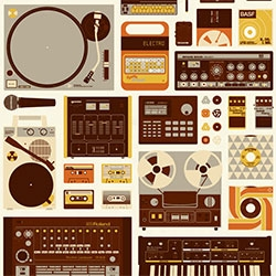 "Burlesque Design's Tools Of The Trade Print by Mike Davis - ""Here's a special dedication to the lovers and collectors of electronic musical gadgets, gizmos, pedals, beat machines, and dusty analog cassettes and records."""