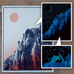 """Arsenal Handicraft - """"WE NEVER GROW TIRED OF EACH OTHER, THE MOUNTAIN AND I"""" Glow In The Dark Print. Stunning!!! In the dark, the moon has risen, and the climber has set up camp!"""