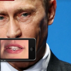 Once you have scanned the QR code on the ad, you have to place your iPhone on the dedicated area, on the dictators mouths. You'll then see a reporter's mouth speak instead of the dictator's, about what really goes on in these countries.