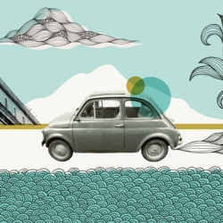 The new Urban Outfitters Print Shop has a whole host of great designs that you can buy as a print, laptop skin or iphone skin. Pictured is Cinquecento by Rachel Wilson.