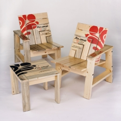 Emily Carr students designs blue-pine furniture for Far Coast Coffee during the 2010 Vancouver Olympics to bring awareness of the blue-pine epidemic