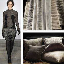 Proenza Schouler teamed with Knoll Textiles for an interiors textiles line that reflects the fashion house's signature style. Here is the fabric collection, held against pieces from the boy's Fall 2009 runway presentation.