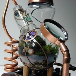 Remarkable convergence of Steam Punk, Green Thinking and Old School Terrariums. What a great gift idea. Bought one already, from SteamedGlass' shop on Etsy.
