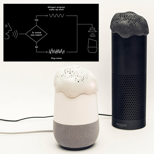 "Project Alias by Bjørn Karmann + Tore Knudsen is a 3D printed open source ""parasite"" that gives you more privacy from Alexa and Google Assistant. Alias speakers feed white noise for privacy, and allow commands thru with a new code word."