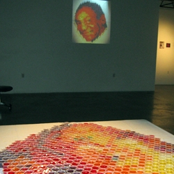 Andrew Salomone's portrait of Bill Cosby made out of JELL-O shots went off without a hitch at Buoy Gallery.