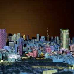 "TOKYO CITY SYMPHONY"" is an interactive website, in which users can experience playing with 3D projection mapping on a 1:1000 miniature model of the city of Tokyo."