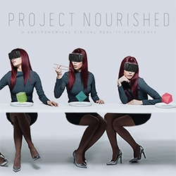 Project Nourished by Kokiri Lab. A gastronomical virtual reality experience. With an Oculus Rift VR headset, utility sensor fork, and Leap Motion sensor you can feast without the calories.