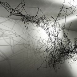 Synapses sculpture from Pryor Callaway composed of black cocktail straws.