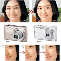 Casio's latest exilim basically has built in photoshop to airbrush your subjects in real time...