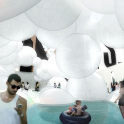 BIG Architects have conceived of a a bubbly cloudscape made of recycled PVC for the Warm Up music festival at New York's P.S.1 gallery.