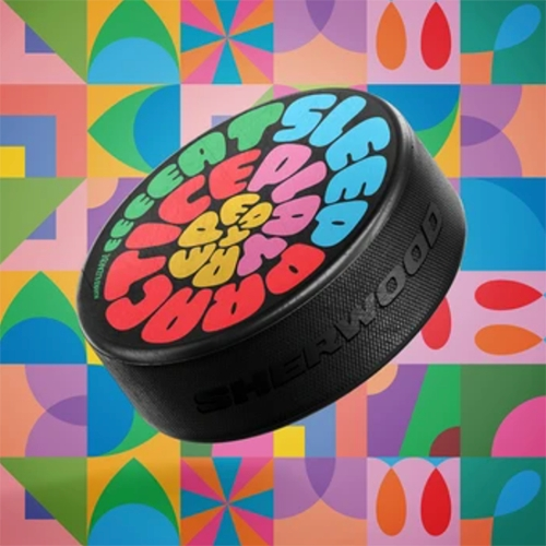 Sherwood Hockey Artist Puck Challenge! Fun inspiration to kick it off like this example from Alvaro Ilizarbe - Eat, Sleep, Practice, Play, Repeat. Also check out examples from Kevin Lyons and I <3 Stencils.