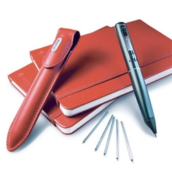 Pulse Smartpen Pro Packs ~ perfect stocking stuffers for creatives, students, journalists, anyone scribbling notes that need audio context... 2GB pen, with leather case and two moleskine like notebooks! (also in black!)