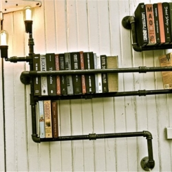 Plumber bookshelves : Great industrial and adaptive design by Stella Bleu design.