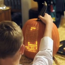 Pumpktris, tetris on a pumpkin! The stem is the controller!