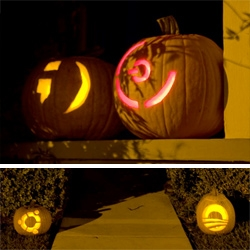 Alan Penner from Goleta, California has the scariest jack-o-laterns of all ~ winky emoticon and red ring of death as well as  ubuntu and obama logo