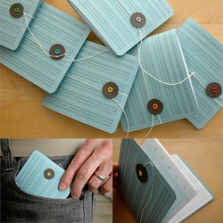 """Geek books"" ~ Notebooks made from punch cards ~ quite adorable really! By erinzam on etsy"