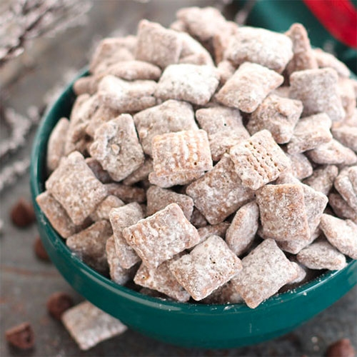 "Taste has a fascinating read on ""The History of Puppy Chow, a Staple at Human Holiday Parties"" aka Muddy Buddies, Monkey Munch, Reindeer Chow... chex mix coated in chocolate/peanut butter rolled in powdered sugar."