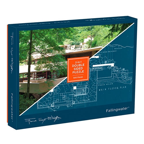 Frank Lloyd Wright Falling Water 2-in-1 Double Sided Puzzle. Photo on one side, blueprint on the other!