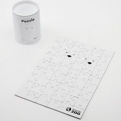 "This hilarious 54-piece puzzle of ""Polar Bears in a Snowstorm"" was made by the Toronto Zoo in collaboration with Lowe Roche. It's being sold for $7 in their gift shop. Looks difficult!"