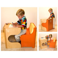 this kids desk is too cool.  a space saver...stylish design...and it just oozes fun vibes.