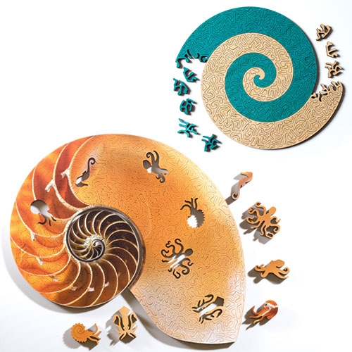 Nervous System Spiral Puzzles... for those who love to start with the edges, these puzzles have maximum edge pieces! Inspired by intricate spiral shells made by cephalopods like the Nautilus.