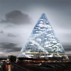 With the ban on high rise buildings on Paris gone, Herzog & de Meuron designed one of the tallest structures for the french capital, a 180m tall pyramid. The 50 stories tall tower will open in 2014.