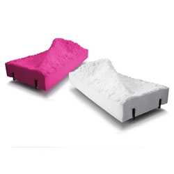 FredriksonStallard Pyrenees chaise are sculptedfrom foam rubber in the shape of the famous French mountain range.
