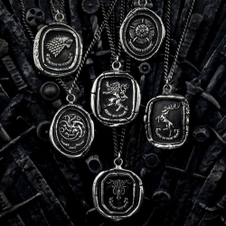Pyrrha partnered with HBO to produce a limited line of talismans and rings featuring the sigils and mottos of the Houses Baratheon, Greyjoy, Lannister, Stark, Targaryen, and Tyrell.