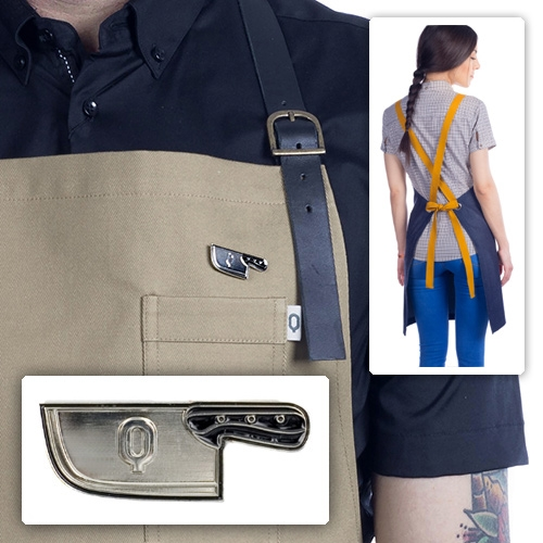 Qooqer - Aprons handmade in Spain made of canvas, denim, and linen. Love their cute logo knife pin, leather straps, and fun back tie design.