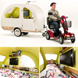 QTvan is the world's smallest caravan! It can even be towed by a mobility scooter.