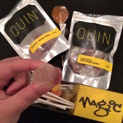 Quin Candy in Portland, OR - fun packaging, store, and delicious small batch, handmade gum drops, lollipops, caramels, + marshmallows in unexpected flavors like Blackberry Tangerine, Peanut Butter Roasted Banana and more!