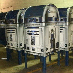 I had no idea the usps was so into star wars... or that they wanted the world to know they had jedi powers. Apparently for the star wars 30th anniversary, they are putting out R2D2 mailboxes...