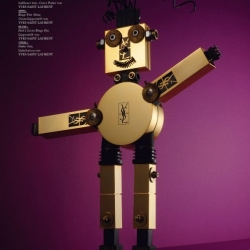 Adorable mechanical models wearing YSL, Armani, Chanel and more in the editorial 'Super Models'.