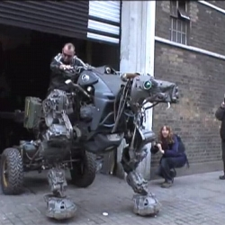 A giant, firebreathing robot dog roams the streets of London! Courtesy of our steam-punk friends Mutoid Waste Company.