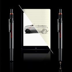 The rOtring 800+, hybrid tool: mechanical pencil + stylus hybrid debuts at NYCxDesign 2014. Think on paper and think on digital.