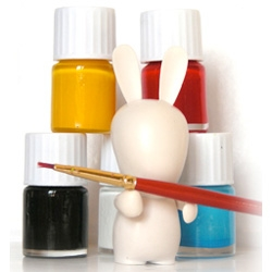 DIY RABBIDS! Blank toys for your customization, comes with 5 pots of acrylics...