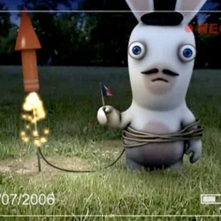 "Game trailers for Rayman:Raving Rabbids are silly. I love when the rabbids freak out and go ""aaahhh!"""