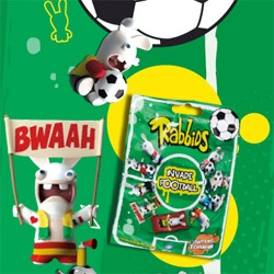 """Raving Rabbids Invade Football! After their """"invade the world"""" series of little collectible blind pack toys... now there are 9 collectible football characters! See the fun video too!"""