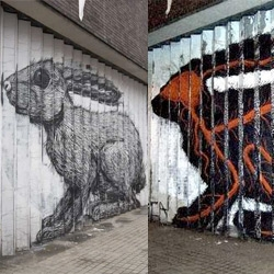 Roa creates a giant and mind blowing rabbit lenticular in london