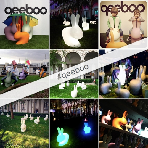 The Qeeboo Rabbits by Stefano Giovannoni seem to be taking over Milan Design Week! Adorable in a rainbow of colors in polyethylene - normal, baby, and light up styles!