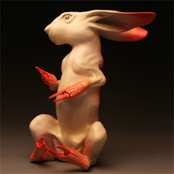 Russell Wrankle makes some Wonderfully intriguing clay scuptures.  These rabbits are just in time for Easter.
