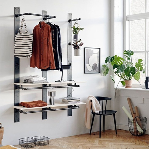 RackBuddy - this Danish company is taking the DIY industrial pipe shelving look to a new level with simplified modular systems. Their Elements collection is particularly interesting with the wall panels you mount then attach pipes to.
