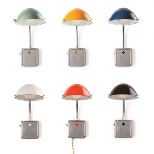 Schoolhouse Electric Radar Sconces! Great light colors, and adorable box with great details like cross cutout and toggle switch.